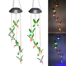Wholesale Outdoor LED Solar Lamps Wind Chime Light Solar Powered Color Changing Hummingbirds dragonfly Wind Home Garden Decor Solar Garden Lights