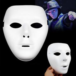 White Hallowmans Hip-Hop Dance Face Mask With Flexible Elastic Ribbon Tie