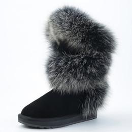 $enCountryForm.capitalKeyWord Australia - fashion style real blue fox fur women high winter snow boots cow suede leather winter shoes flats black grey high quality