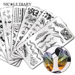 NICOLE DIARY plante géométrique fleur ongles des plaques de timbrage Wave Line Motif Nail Art Stamp image Pochoirs outil Modèles en Solde