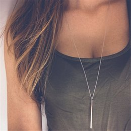 $enCountryForm.capitalKeyWord Australia - Simple Classic Fashion Stick Pendant Necklace Hollow Girl Long Link Chain Square Copper Necklaces Long Strip For