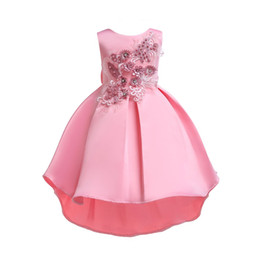 american princess dresses for girls UK - Girls Pink Dress 2019 Kids Party Dresses For Girls Girl Princess Dress Girl Embroider And Beaded Dress For 100-150cm