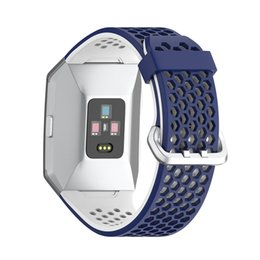 Discount buckle strap for watches - New Fashion Strap For Fitbit Ionic Two-color Silicone Strap Adjustable Pin Buckle Replacement Watch Accessories