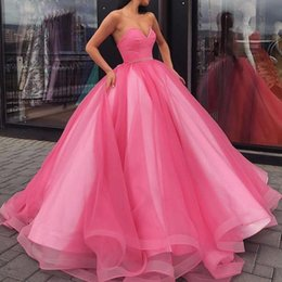 Green enGaGement dresses backless online shopping - 2019 Stunning Long Corset Sweetheart Pink Ball Gown Quinceanera Gown Prom Engagement Dress vestido sweet dresses Vestidos anos