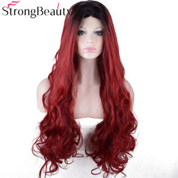 Red Black Long Hair Australia - Long Wavy Red Women Wigs Synthetic Lace Front Wig Ombre Black to Burgundy Red Hair