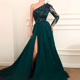MusliM long chiffon online shopping - Green Muslim Evening Dresses A line One shoulder Chiffon Lace Slit Islamic Dubai Kaftan Saudi Arabic Long Prom Evening Gown