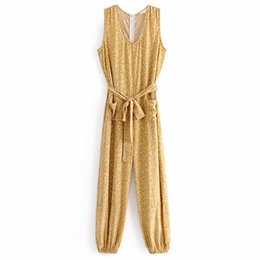$enCountryForm.capitalKeyWord UK - FIRSTTO Vintage Yellow Leopard Print O-Neck Sashes Tied Bow Jumpsuit Sleeveless Stylish Back Zipper Rompers Bodysuit Overalls