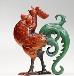 sculpture figures NZ - figure statues sculpture for home modern Old Antique copper Statue Money chicken Roosters Sculpture