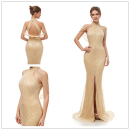2019 Gatsby Vintage Mocha Luxury crystal Champagne Mermaid Evening Dresses  Wear yousef aljasmi high Neck with cape arabic split Prom Gowns 5cf2f764d8b0