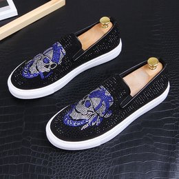 ShoeS for driving online shopping - skull rhinestone loafers Male walking shoe Dress shoes moccasins driving shoes party wedding shoes for men zapatos hombre