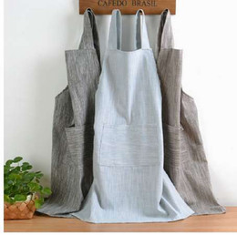 $enCountryForm.capitalKeyWord NZ - New Japanese Style solid Color Cotton Hemp unisex apron Coffee shops work cleaning aprons for woman kitchen Baking daidle bib