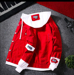 Short Sleeve white denim jacket online shopping - Element style spring baseball uniform men s Korean version of the slim fashion trend youth denim jacket trend men s spring and autumn denim