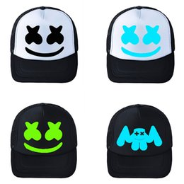 Candy baseball Caps online shopping - Cotton Candy Marshmello Hat Student Mesh Baseball Cap Electric Sound Snapback Black White Blue Sunscreen Durable ke C1