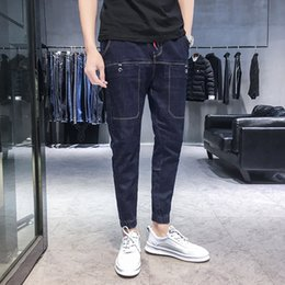 blue cargo trousers Australia - Ymwmhu 2020 Summer New Men's Thin Jeans Business Casual Classic Style Fashion Denim Trousers Male Solid Blue Pants Brand