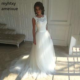$enCountryForm.capitalKeyWord Australia - 2019 New Lace O-neck Lace Tulle Boho Cheap Wedding Dresses Summer Beach Bridal Gown Bohemian Wedding Gowns Robe De Mariage Y19072901