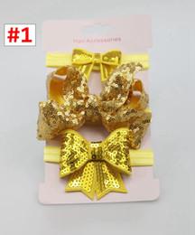 $enCountryForm.capitalKeyWord NZ - 3pcs Set Girl Sequin headband Baby Girl Hairband with bowknot Sweet Hair Accessories 10Sets for choose