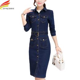 6b94b420e3a Long Sleeve Denim Dress Women With Belt Autumn Winter Dresses Women 2018  Single Button Slim Bodycon Dresses Elegant Jeans Dress
