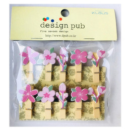 Bookmarks Set NZ - 10 Pcs Set Creative Cherry Blossoms Wooden Clip Photo Clips Party Decoration Clip with Rope