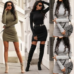 Wholesale womens sweater dresses resale online - Womens Plain Sweater Jumper Mini Dress Long Sleeve Pullover Sweatshirt Tops