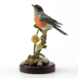 curtains uk UK - British designer realistic sculpture Robin and alfalfa Branch bird peanut Day Gift Display UK crafts Old Statue