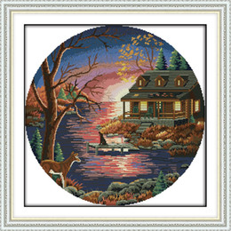 SunSet lake painting online shopping - Sunset lake villa home decor painting Handmade Cross Stitch Embroidery Needlework sets counted print on canvas DMC CT CT