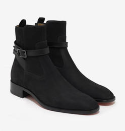 Chinese  Top Quality Men Ankle Boots Low Heels Black Suede Kicko Flat Black Nubuck Jodhpur Boots Men Wedding Party Shoes Mid Sneakers manufacturers