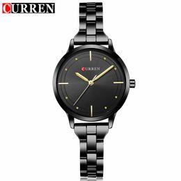 Luxury Fashion Brand Quartz Watch Australia - Curren Brand Luxury Black Stainless Steel Bracelet Style Women Quartz Watch Fashion Dress Ladies Watches Gifts Relogio Feminino Y19052001