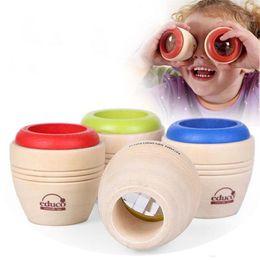 Effet de kaléidoscope magique en bois de haute qualité enfants bébé multi-prisme observation du monde extérieur de jouets pour enfants en Solde
