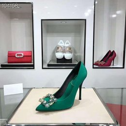 672f7046839 Female high heels Pure silk Imported leather with diamonds Fashion  beautiful Female high heels green 3 models with high