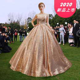 green silk dress gold flower Australia - Cross-border evening dress bride foreign trade gold sequined evening dress court dream European poncho skirt dress