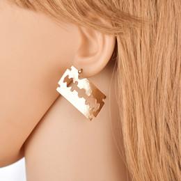 $enCountryForm.capitalKeyWord UK - Punk Gold Silver Blade Drop Earrings for Women Geometric Hollow Out Metal Dangle Earring Statement Earring E2474