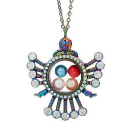 $enCountryForm.capitalKeyWord Australia - Rainbow Color Goddess Magnetic Open Glass Locket Pearl Cage Living Memory Pendant Floating Jewelry Charms With Stainless Steel Chain