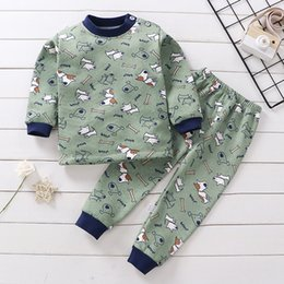 Discount organic underwear Girls Boys Clothes Autumn Winter Plush Thermal Underwear Sets Christmas Outfit Kids Suit For 1-5 Y Baby Children Warm Cl