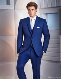 Slim Suits Sale Australia - Hot Sale Royal Blue Men Suits For Wedding Slim Fit Groomsmen Tuxedos Three Pieces Handsome Wedding Suit (Jacket+Pants+Vest)