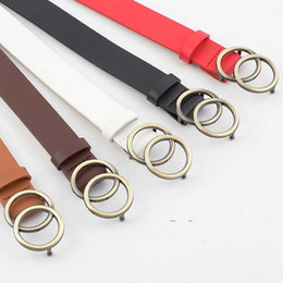 $enCountryForm.capitalKeyWord NZ - Female Leather Belt European And American Style Round Ring Metal Buckle Stylish Women's Belt For Jeans Pants Trousers Dress