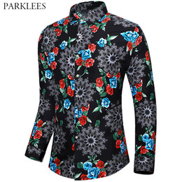 wedding dress shirts for men NZ - Rose Floral Printed Mens Dress Shirts Wedding Party Shirt for Men Casual Slim Fit Mens Long Sleeve Shirt Daily Streetwear Male