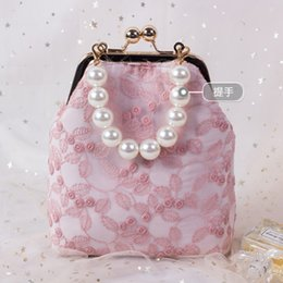 ladies lace handbags Canada - 2020 Angelatracy New Arrival Metal Frame Daily Bag Floral Lace Pearl Flower Lady Purse Chain Messenger Handbag Shoulder Bag