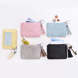Promotional Cards Australia - Tassel Card Holder Promotional Hot styles Women Simple Short Wallet Card Holder Tassel Coin Purse Card Holders Zipper Handbag