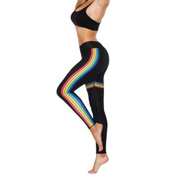 $enCountryForm.capitalKeyWord NZ - Women Fashion High Elasticity Print Rainbow Leggings Gym Active Pants High-elastic slim fitness rainbow print