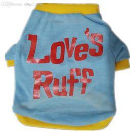 Assorted Clothing Wholesale UK - Wholesale-Free shipping Stylish Loves Ruff T-shirt Puppy Cotton Vest for Pets Dogs (Assorted Sizes) ,Dog Clothes,Dog Shirt,Dog dress,pet