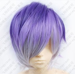 Wig Purple Mixed Australia - 285 DIABOLIK LOVERS Sakamaki Kanato Short Purple mix colors Cosplay Fashion Wig