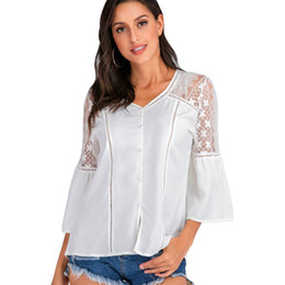 woman lace long NZ - Lace Patchwork White Shirt Womens Tops and Blouses Turn-down Collar Long Sleeve Chiffon Blouse Women Sum