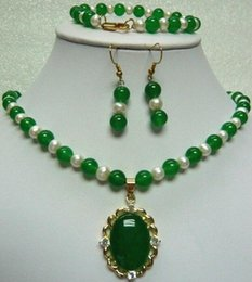 $enCountryForm.capitalKeyWord Australia - necklace Free shipping ++++Miss charm Jew.607 nice green pink red jade jade white pearl necklace pendant earring set can choose