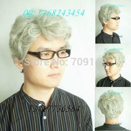 $enCountryForm.capitalKeyWord NZ - Short Silver Mix White Middle-aged Man Wig Kanekalon hair no lace front wigs Free deliver