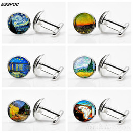 Painting Clip Australia - Van Gogh Art Painting Cufflinks Unisex Glass Cabochon Silver Plated Cuff Links Men Fashion Accessories Valentines Wearable Art