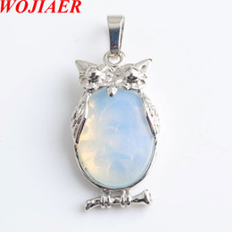 eagle alloys NZ - WOJIAER Eagle Animal Necklaces & Pendants Girl Chakra Reiki Natural Opalite Oval Convex Gem Stone Beads Jewelry DN8071