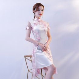 great prom dresses 2019 - Chinese Traditional Clothing Lace Embroidery Cheongsam Dresses Short Sleeve Short Qipao Great for Wedding Prom Party Coc