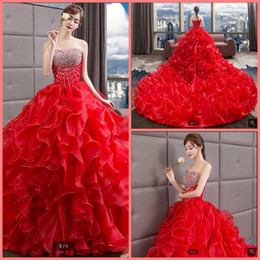 Best Cathedral Wedding Dresses Australia - Robe de mariage 2019 red organza ball gown princess wedding dress ruffles beaded crystals plus size corset bride dress best selling 2019