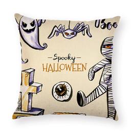 $enCountryForm.capitalKeyWord UK - Cartoon Witch Ghost Pillow Case Cotton Linen Sofa Chair Waist Cushion Cover 45*45 cm Pillowcase Halloween Club Party Decor