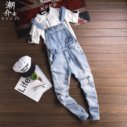 japanese overalls NZ - Japanese retro denim overalls jumpsuit men's trousers Men's fashion versatile light jeans casual bib susperdens pants